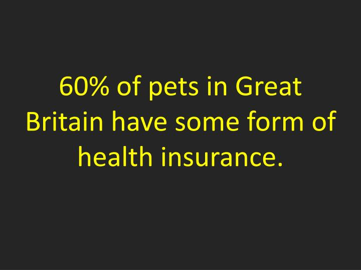 60% of pets in Great Britain have some form of health insurance.