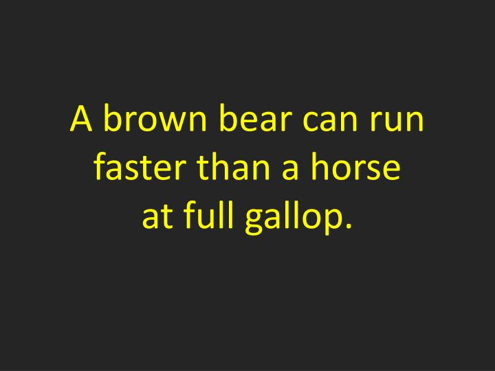 A brown bear can run faster than a horse
