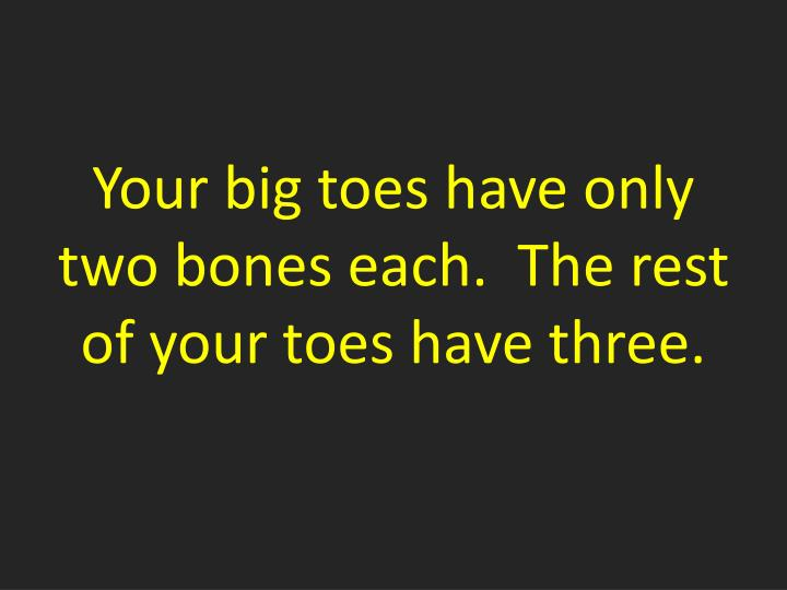 Your big toes have only two bones each.  The rest of your toes have three.