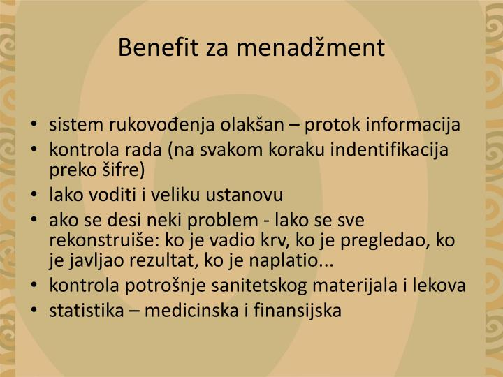 Benefit za menadžment