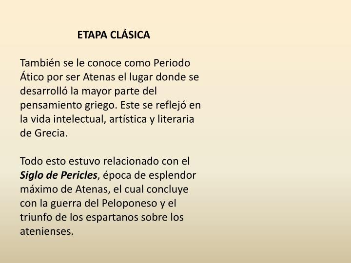 ETAPA CLÁSICA