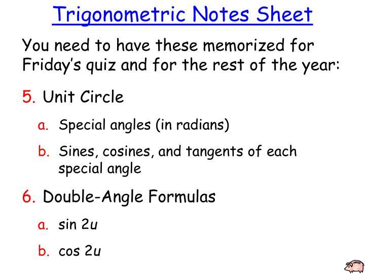 Trigonometric Notes Sheet