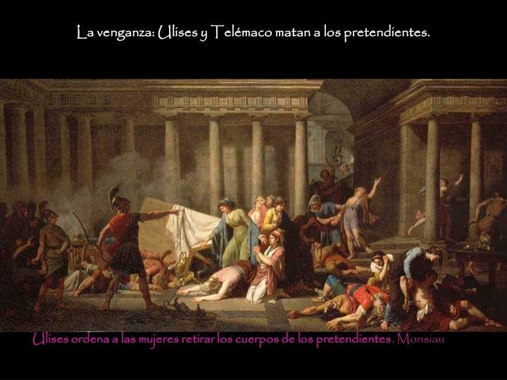 La venganza: Ulises y Telémaco matan a los pretendientes.