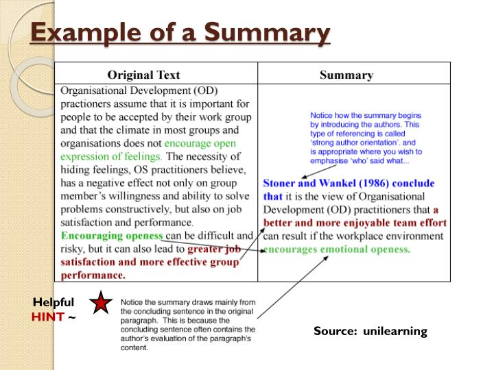 Quotation paraphrase summary example