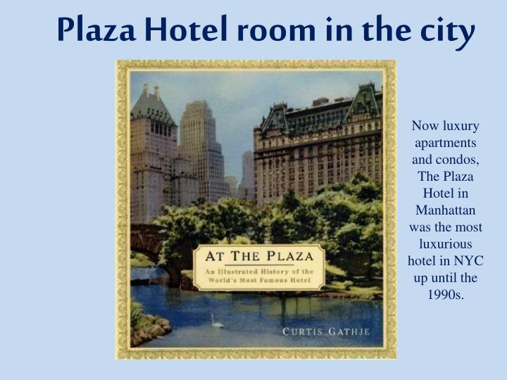 Plaza Hotel room in the city