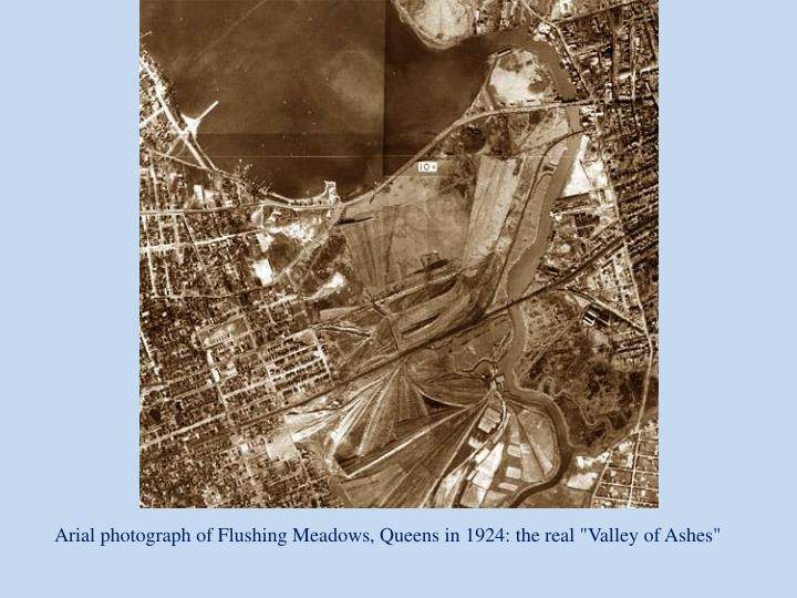 """Arial photograph of Flushing Meadows, Queens in 1924: the real """"Valley of Ashes"""""""