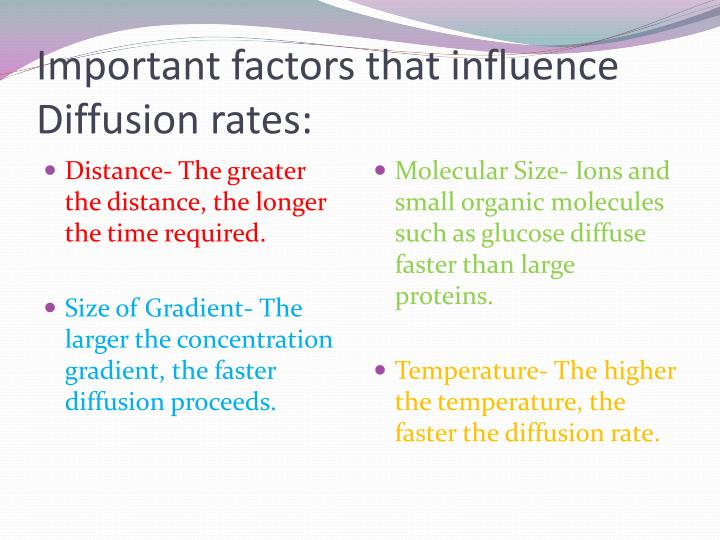 Important factors that influence Diffusion rates: