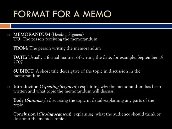 FORMAT FOR A MEMO
