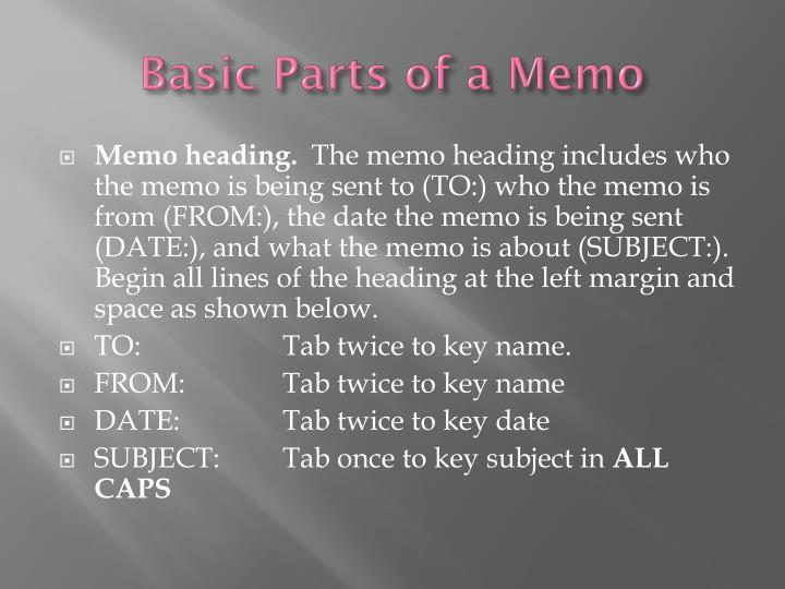Basic Parts of a Memo