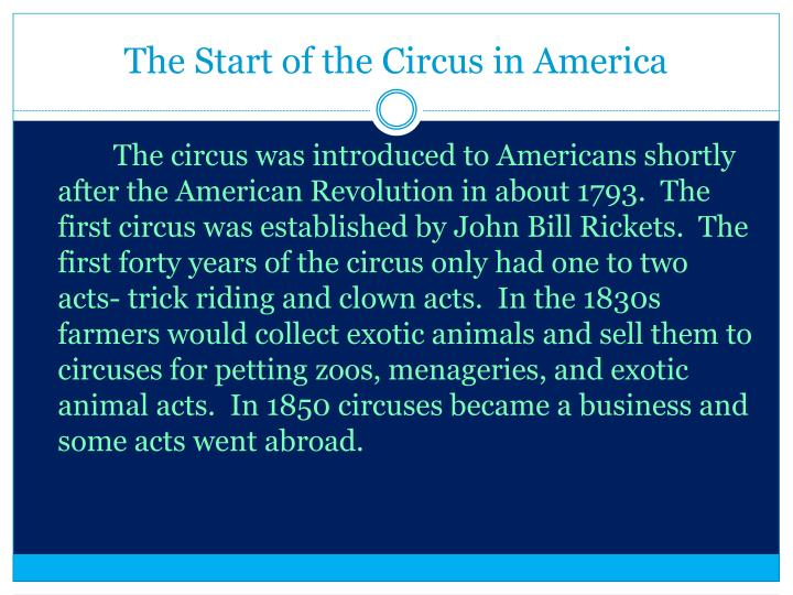 The start of the circus in america