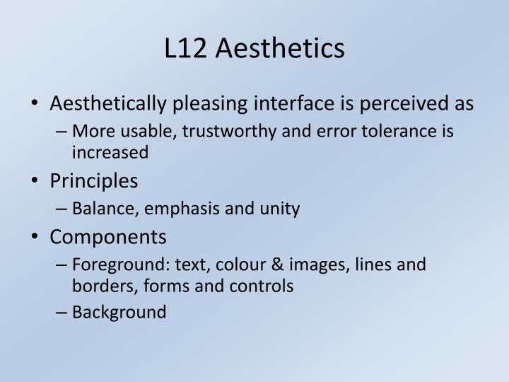 L12 Aesthetics
