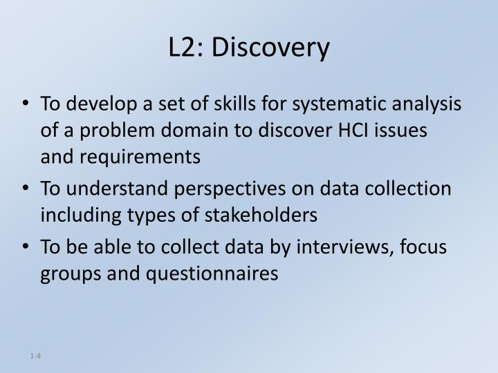 L2: Discovery