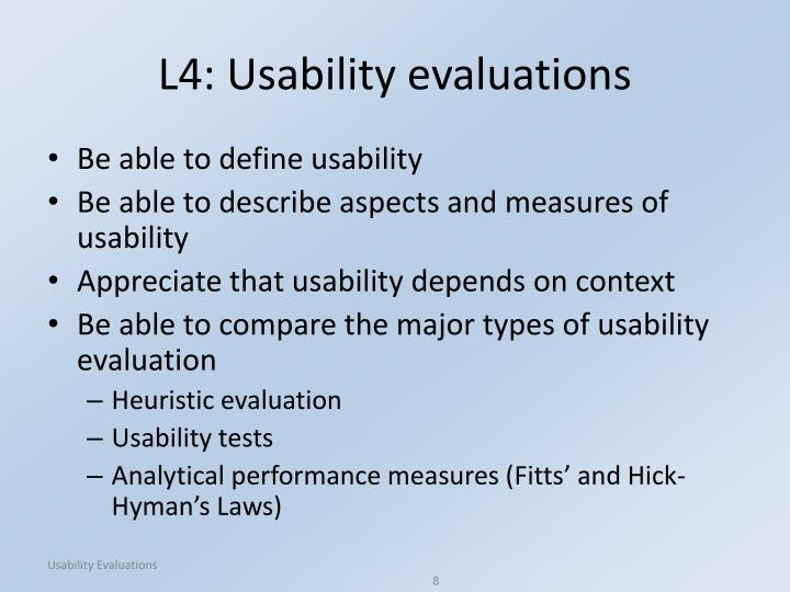 L4: Usability evaluations