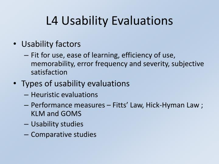 L4 Usability Evaluations