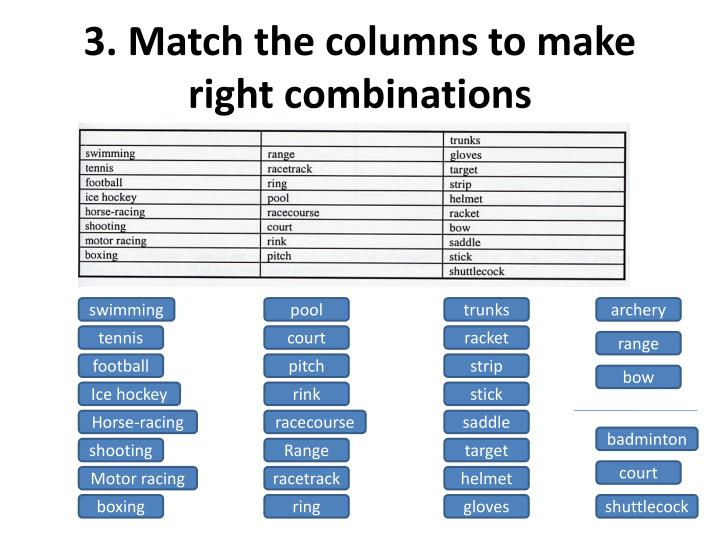 3. Match the columns to make right combinations