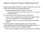 how to assess project effectiveness
