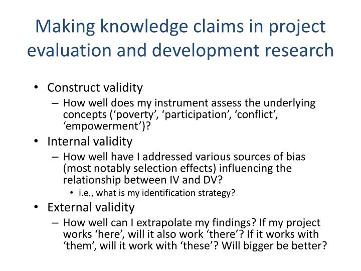 Making knowledge claims in project evaluation and development research
