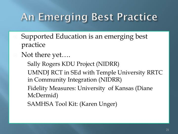 An Emerging Best Practice