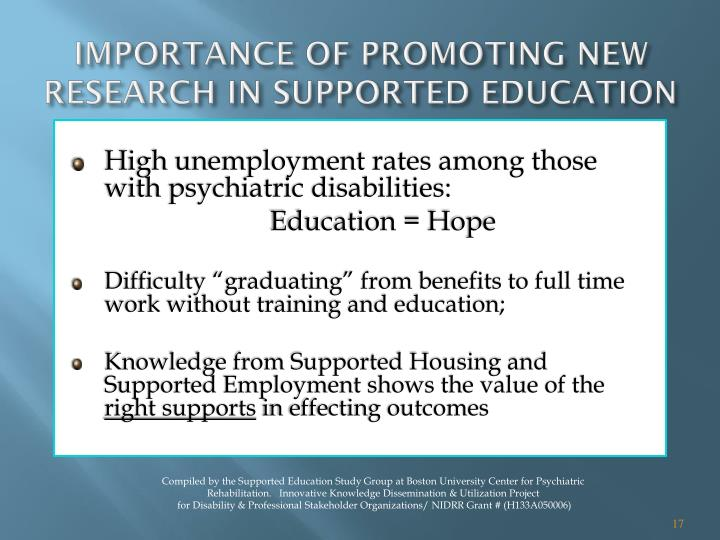 IMPORTANCE OF PROMOTING NEW RESEARCH IN SUPPORTED EDUCATION