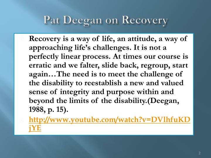 Pat deegan on recovery