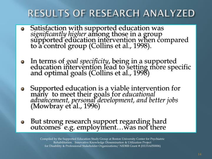 RESULTS OF RESEARCH ANALYZED
