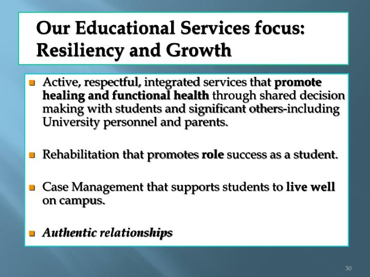 Our Educational Services focus: