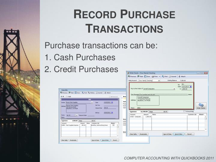 Record Purchase Transactions