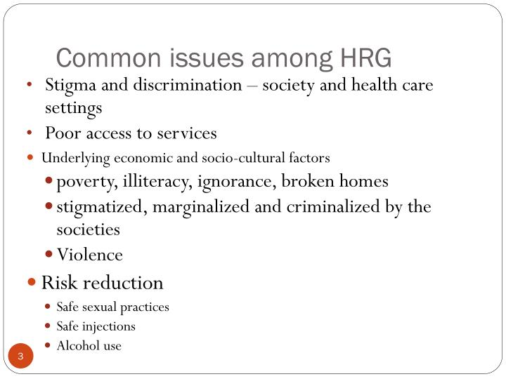 Common issues among hrg