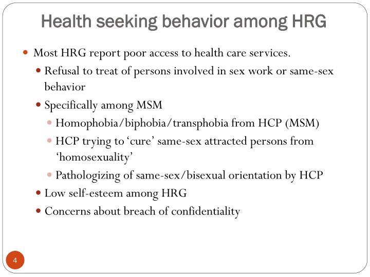 Health seeking behavior among HRG