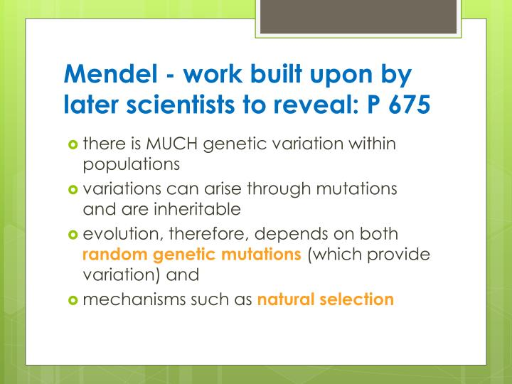Mendel - work built upon by later scientists to reveal: P 675