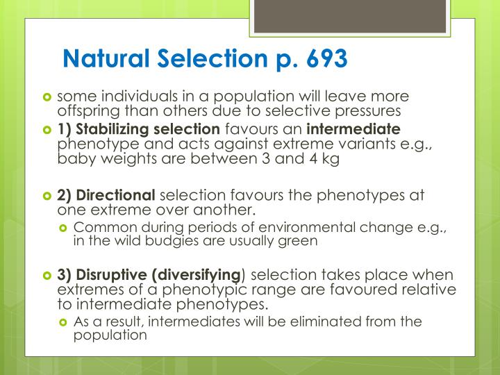 Natural Selection p. 693
