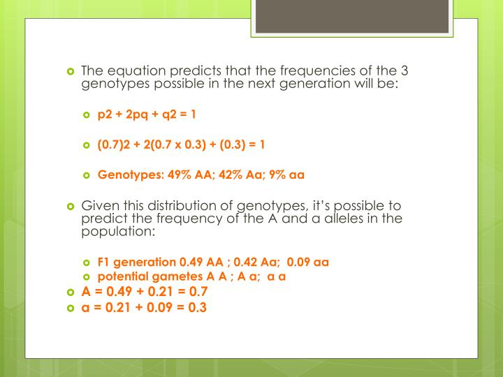 The equation predicts that the frequencies of the 3 genotypes possible in the next
