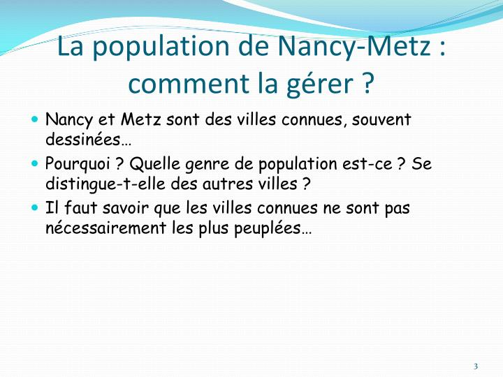 La population de nancy metz comment la g rer