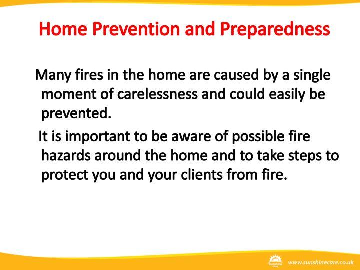 Home Prevention and Preparedness