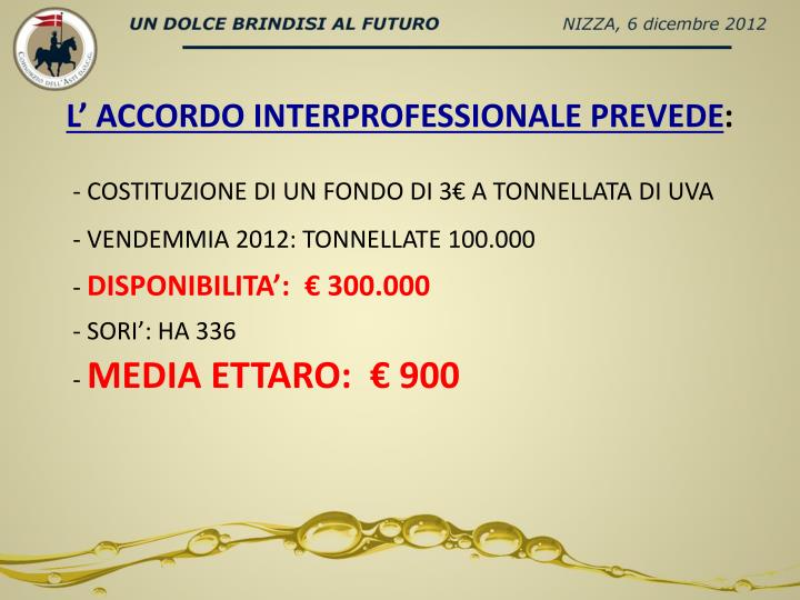 L' ACCORDO INTERPROFESSIONALE PREVEDE
