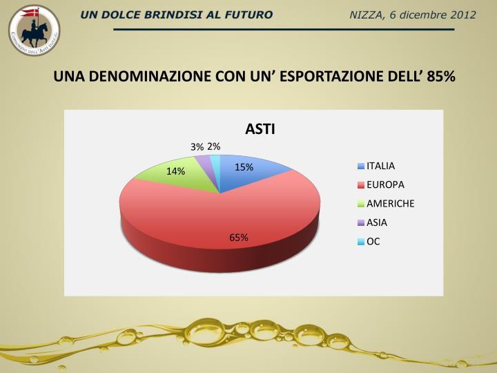 UNA DENOMINAZIONE CON UN' ESPORTAZIONE DELL' 85%