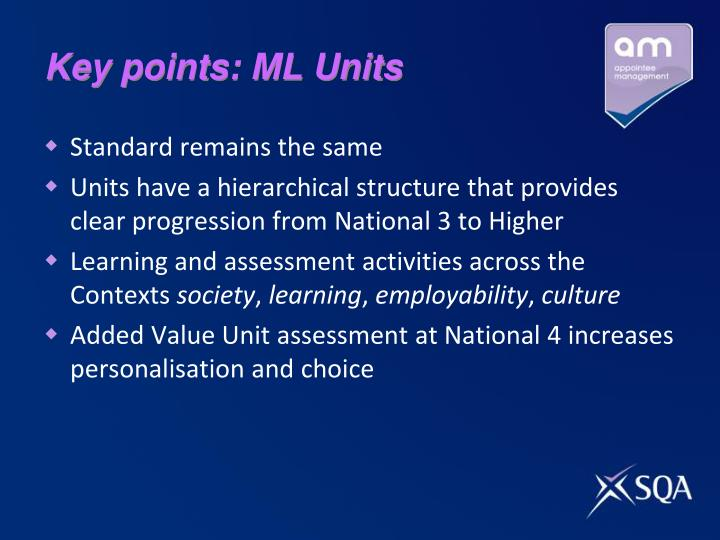 Key points: ML Units