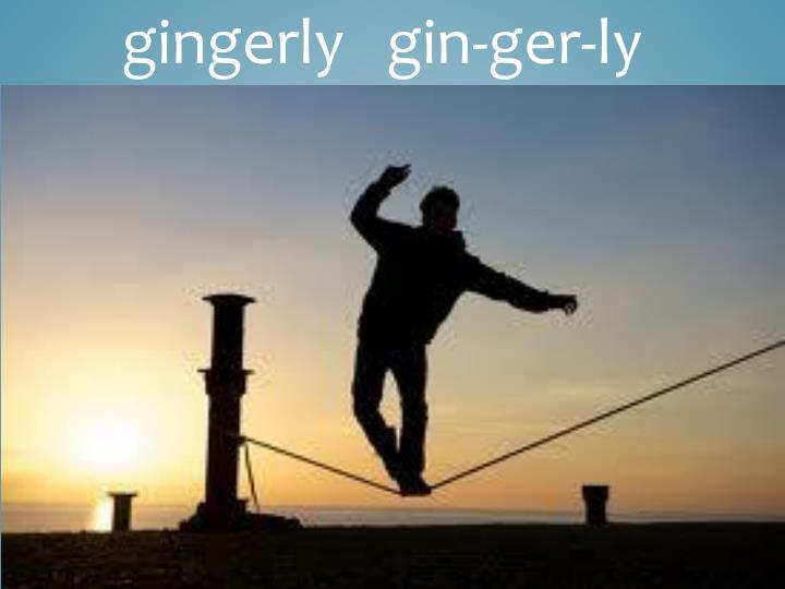 gingerly   gin-