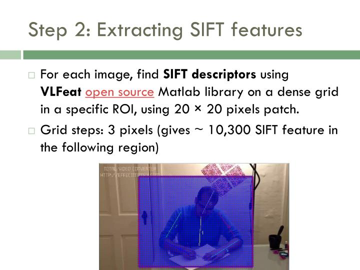 Step 2: Extracting SIFT features