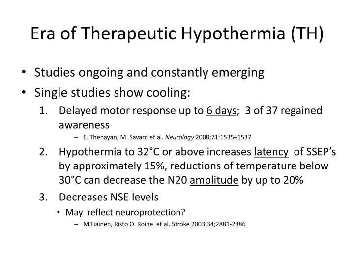 Era of Therapeutic Hypothermia (TH)