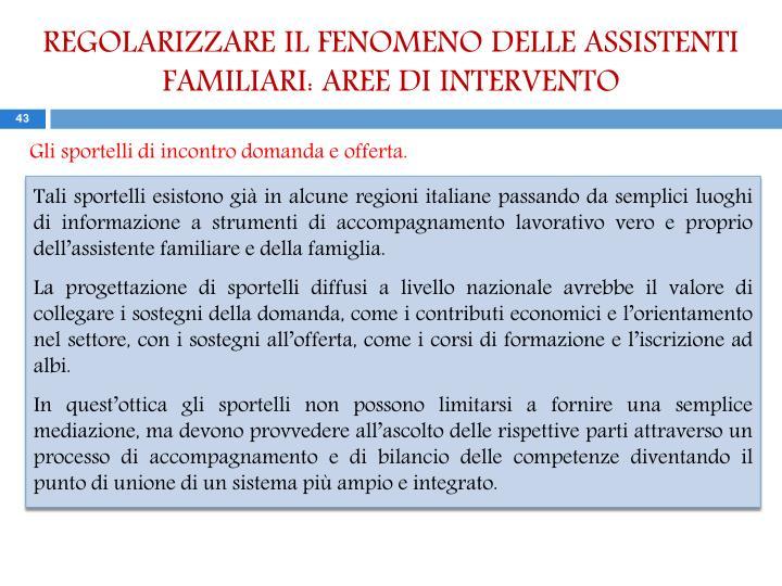 REGOLARIZZARE IL FENOMENO DELLE ASSISTENTI FAMILIARI: AREE DI INTERVENTO