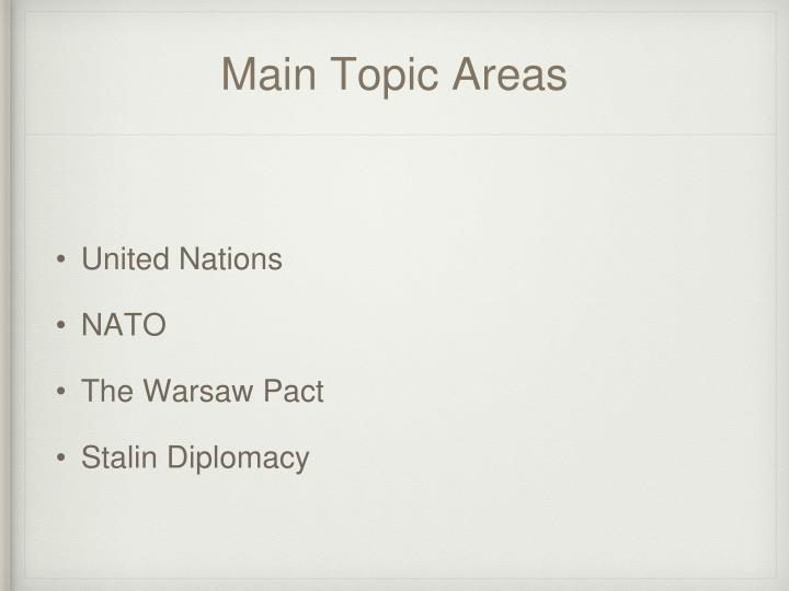 Main topic areas