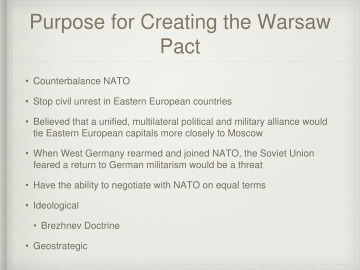 Purpose for Creating the Warsaw Pact