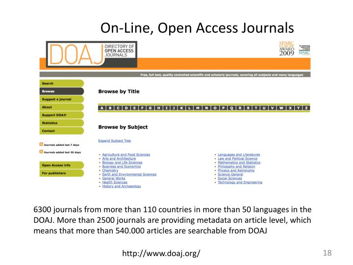 On-Line, Open Access Journals