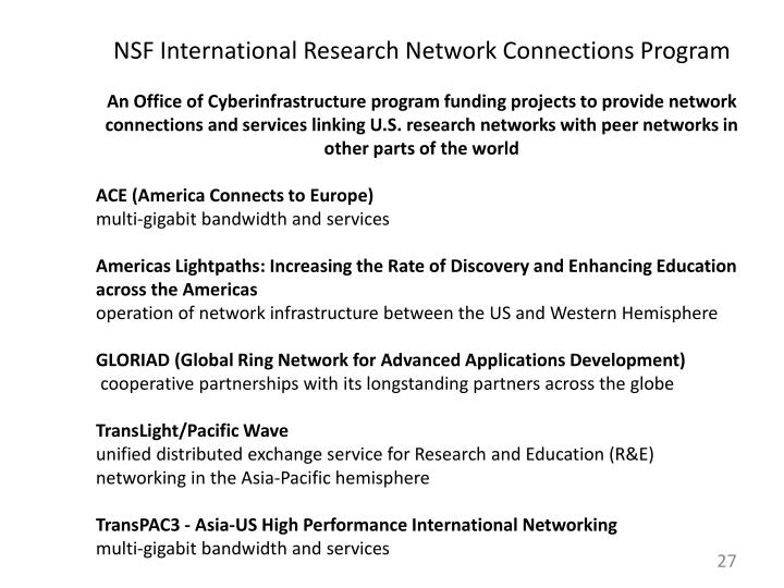 NSF International Research Network Connections Program