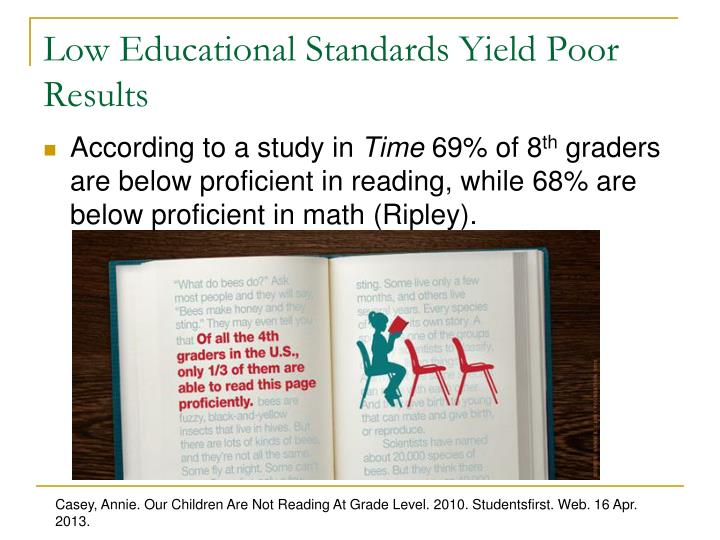 Low Educational Standards Yield Poor Results