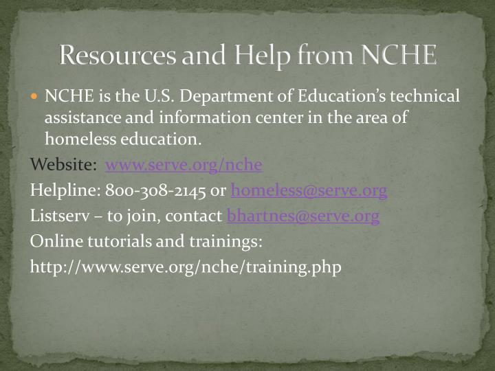 Resources and Help from NCHE