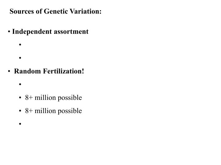 Sources of Genetic Variation: