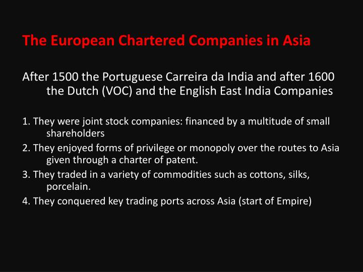 The European Chartered Companies in Asia
