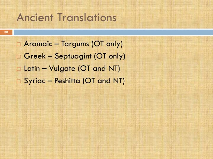 Ancient Translations